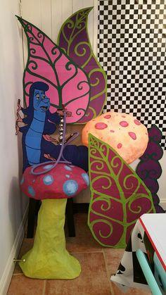 Alice birthday 2016 Cardboard Caterpillar and paper mache Mushrooms