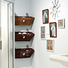 diy design ideas for new small bathroom wall decor with bathroom design in small bathroom decor ideas 23 bathroom storage and images, pictures, ideas Bathroom Storage Solutions, Small Bathroom Organization, Home Organization, Bathroom Ideas, Bathroom Baskets, Bathroom Shelves, Design Bathroom, Organized Bathroom, Downstairs Bathroom