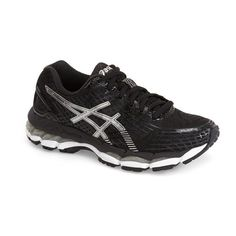 ASICS 'GEL-Nimbus 17' Running Shoe ($110) ❤ liked on Polyvore featuring shoes, athletic shoes, fluorescent shoes, synthetic shoes, neon shoes, asics shoes and neon athletic shoes