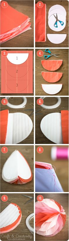 DIY Honeycomb paper ball - by Craft & Creativity 2 Decor Crafts, Diy And Crafts, Crafts For Kids, Paper Crafts, Diy Flowers, Paper Flowers, Flower Pots, Diy Projects To Try, Craft Projects