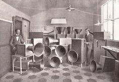 Luigi Russolo and Ugo Piatti with noise machines, Milan, 1913. Reproduced in L'Arte dei rumori (The Art of Noises), 1916. See the Exposure column at Design Observer. http://designobserver.com/feature/exposure-luigi-russolos-noise-machines/38820/