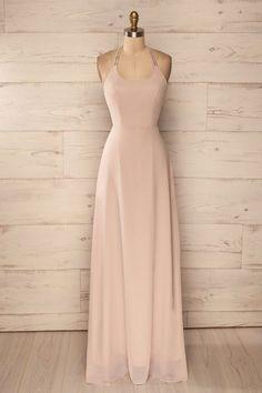 halter chiffon simple cheap long prom dress, PD1483
