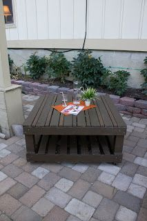 DIY Pallet Table - Use taller pieces for the legs and eliminate the bottom pallet to make it the right height to sit at and drill a hole in the center to fit an umbrella.