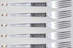 Pewter Hand crafted. Diana Carmichael Design. fork Clear (Set of 6) & pouch - Crystal d' Afrique Collection. GoodiesHub.com Fork, Aloe, Pewter, Diana, Swarovski Crystals, Advertising, Pouch, Shops, Community