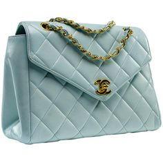 Chanel Vintage Robin's Egg Blue Lambskin Flap (100,935 DOP) ❤ liked on Polyvore