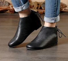 Handmade Black Shoes,Ankle Boots,Oxford Women Fall Shoes, Flat Tie-Back Shoes, Retro Leather Shoes, Casual Shoes, Soft Flat Booties