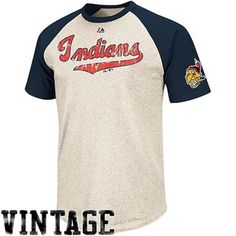 Majestic Cleveland Indians Cooperstown Collection All-Star Raglan T-Shirt - Natural/Navy Blue