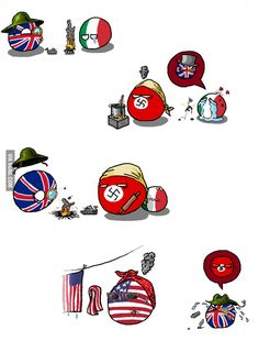 """This tells the history very well """"The Desert War""""( Italy Britain  Germaney USA ) by Hansafan #polandball #countryball #flagball"""