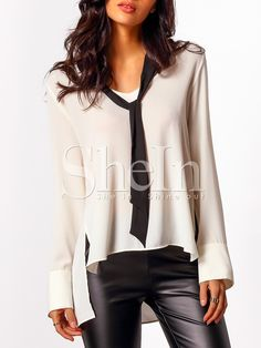 White+Contrast+Tie+Neck+Dip+Hem+Blouse+15.99