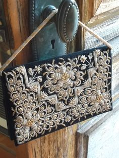 Vintage Black Velvet Clutch Purse Zardosi Metal India Embroidered Gold & Silver Metallic. $75.00, via Etsy.