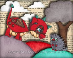 Cute Baby Dragon and Porcupine Art Print Nursery Picture Turquoise 8 x 10