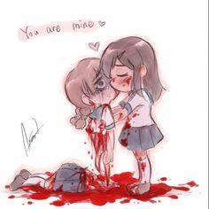 Senpai will finally notice me ❤ Horror Books, Horror Art, Creepy Cute, Scary, Male Yandere, Horror Photos, Blood Art, Anime Version, Yandere Simulator