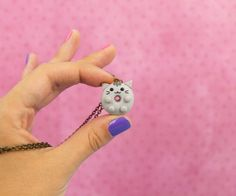 Donut Cat, Doughnut, Cute Donuts, Paper Earrings, Polymer Clay Animals, Polymer Clay Necklace, Pretty Box, Cat Necklace, Pusheen