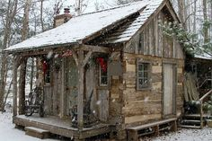 tiny cabin in the woods with first snow fall.Ever since I was a little girl I dreamed of living in a wood cabin,with a very rustic interior. These tiny homes make it so dreaming of owning your own wood cabin is possible. Old Cabins, Tiny Cabins, Log Cabin Homes, Cabins And Cottages, Cabins In The Woods, Rustic Cabins, Rustic Homes, Western Homes, Little Cabin