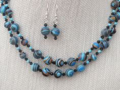 Blue Rainbow Calsilica Necklace Earrings Two Strand by jazzybeads