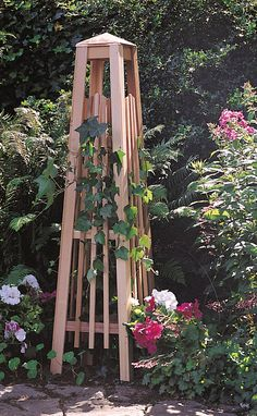 For Clematis or Mandevilla - Garden Obelisk: Manhattan Obelisk - Wood Trellis | Gardeners.com