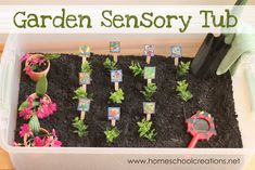 Garden Sensory Tub fun for preschool and kindergarten - bring a little of the outdoors inside.