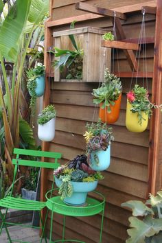spun aluminum hanging containers from Chicweed~Solana Beach, CA