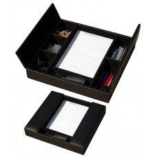 Desk Supplies> Desk Set / Conference Room Set >Organizers: Black Leather Enhanced Conference Room Organizer