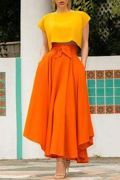 Mar 2020 - High Waist Pockets Bow Tie Skirts – Amilyonline Look Fashion, Skirt Fashion, Fashion Dresses, Womens Fashion, Fashion Beauty, Colourful Outfits, Colorful Fashion, Colour Combinations Fashion, Color Blocking Outfits