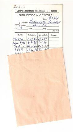 3. NACIMIENTO BIBLIOTECA. Ficha del lector donde se anotaba el registro del libro que se llevaba en préstamo y la fecha de devolución. Pertenecía al  Centro de Enseñanzas Integradas (antigua Universidad Laboral)