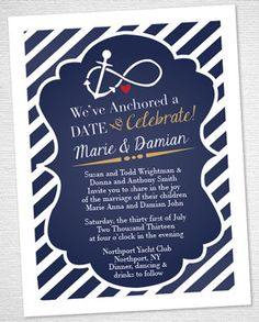 Fully made-to-order nautical invitations! I do not simply take stationery and print text on top of it, I take your idea or theme (i.e. summer, winter, beach, etc) and create a custom invite that can be changed to your liking and will be printed professionally!  Price includes proofs and the creation of a fully customized wedding invitation! Additional orders for directions cards, reception cards, etc. subject to discount. These are *professionally* printed on a thick stock paper, either…
