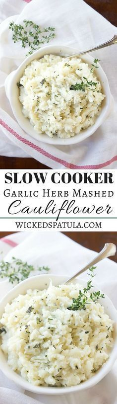 Slow Cooker Garlic Herb Mashed Cauliflower - A great paleo side dish! | wickedspatula.com