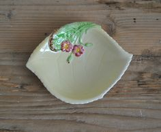 Vintage Carlton Ware china dish  Leaf  Pale by TheVintageCoopUK