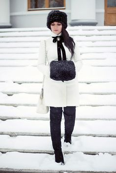 Fur Muff. Hat. Purse + Cameo + Black-White