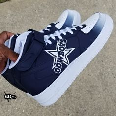 Fresh pair of Air Force 1s customized into a faded Cowboys theme. Due to high volume of customer orders shoes will be shipped in approximately 3... Funky Shoes, On Shoes, Me Too Shoes, Dallas Cowboys Outfits, Dallas Cowboys Football, Cowboy Shoes, Cowboy Outfits, Jordan Shoes Girls, Girls Shoes