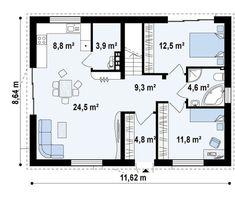 case de vis fara etaj Beautiful one story house plans 7 Novi Sad, One Story Homes, Story House, Design Case, House Plans, Sweet Home, Floor Plans, How To Plan, Small Homes