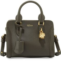 Alexander McQueen Mini Padlock Satchel Bag (£520) ❤ liked on Polyvore featuring bags, handbags, сумки, mini satchel, mini handbags, zip top tote, handbags totes and mini tote bag
