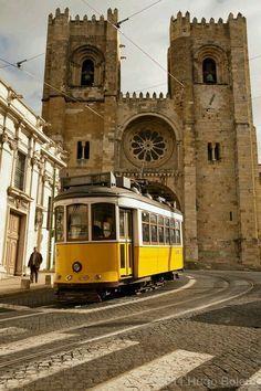 Lisbon, Portugal - Lisbon Church - Sé de Lisboa - built in 1150 Sintra Portugal, Spain And Portugal, Algarve, Places Around The World, Around The Worlds, Places To Travel, Places To Go, Lisbon Tram, Portuguese Culture