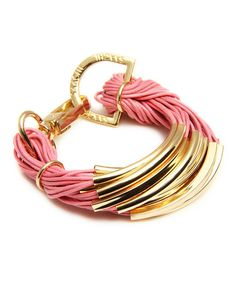 Pink & Gold Bar String Bracelet by In Things #zulily #zulilyfinds