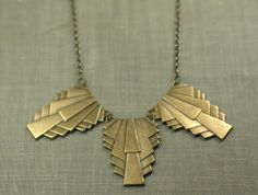 Art deco statement necklace 1920s style brass architectural