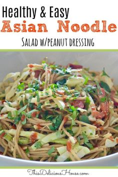 Asian Noodle Salad is an easy recipe using whole wheat spaghettini, cabbage, bell peppers, soy sauce, and peanut butter. Healthy recipe for meal prep lunches and great side dish. Easy Salad Recipes, Healthy Recipes, Healthy Eats, Asian Recipes, Vegetarian Recipes, Grilling Recipes, Cooking Recipes, Cooking 101, Asian Cooking