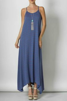 S(Available in Pink, Coral, Royal Blue, Mint) Spaghetti Strap, Cut Out Back, Lightweight, Maxi Dress.   Spaghetti String Maxi by Inance. Clothing - Dresses - Casual Clothing - Dresses - Maxi Florida