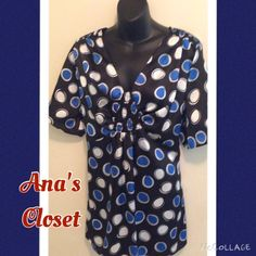 Blouse Blue, black & white blouse. Great for work with a pair of slacks or going out with a pair of jeans! Lane Bryant Tops Blouses