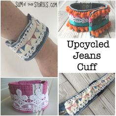 How to turn the waistband of an old pair of jeans into a pretty cuff bracelet. Fabric Beads, Fabric Jewelry, Fabric Bracelets, Cuff Bracelets, Diy Jewelry Projects, Jewelry Ideas, Denim Crafts, Crochet Bracelet, Liberty Fabric