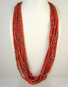 Old Pawn Navajo Handmade 9 Strand Sterling Silver Coral Turuoise Bead Necklace J