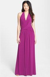 Halston Heritage Front Twist Jersey Maxi Dress