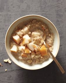 Week 2- Breakfast: Cardamom Quinoa Porridge  1/2 cup rinsed quinoa  1 3/4 cup unsweetened almond milk, divided  1/2 cup water  1/2 tsp vanilla extract  pinch coarse salt  1/4 tsp ground cardamom or cinnamon  1 sliced pear, divided  4 Tbsp toasted sliced almonds, divided