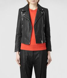 Womens Papin Leather Biker Jacket (Black) | ALLSAINTS.com