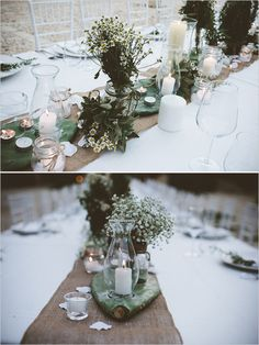 Greenery table decor with cactus and daisys