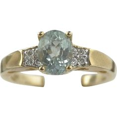 Aquamarine & Diamond Ring 14kt Yellow Gold
