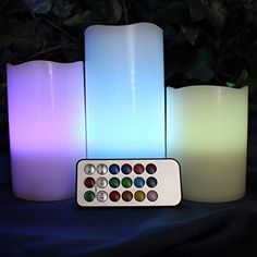 LED Lytes Real Wax Battery Operated Flameless Candles ~ Candle Set of 3 Vanilla Scented ~ Ivory Colored Wax with Mulit Color and Multi Function Remote ~Weddings, Brides, Parties, Gifts Flameless Candles, Led Candles, Church Candles, Grandmothers Love, Just Because Gifts, Candle Set, Battery Operated, Wedding Centerpieces, Night Light
