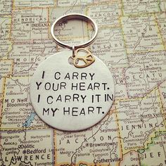 I Carry Your Heart  Metal Hand Stamped Key Chain by SeizeTheNight, $14.00