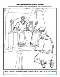 This color by number Bible coloring page will help your children understand the awesome power of a king to forgive a debt—and, by way of illustration, the power of God to forgive sins.