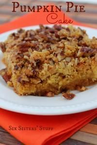 Six Sisters Pumpkin Pie Cake Recipe is the deliciousness of pumpkin pie in a cake form!!