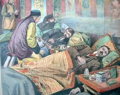 """A detail of a cover of """"Le Petit Parisien"""" magazine from 1907 depicts opium smokers in France."""